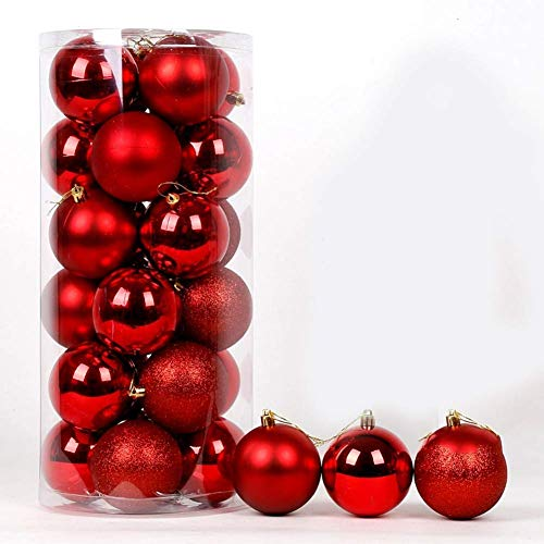 LIUSHI 24ct Christmas Ball Ornaments Shatterproof Christmas Decorations Tree Balls Small for Holiday Wedding Party Decoration-red 6cm(2inch)