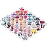 Caja de Bordado de Diamantes 30 piezas Plástico Transparente Frascos de Almacenamiento Contenedores con Tapas de Rosca para Cuentas Brillo Maquillajecosmeticos y Crema