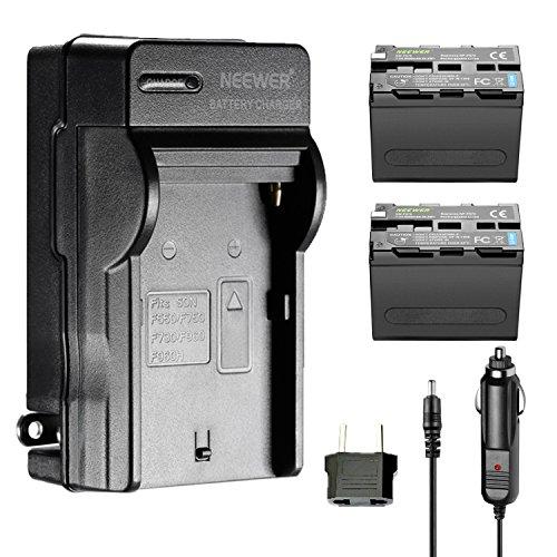 Neewer 2 piezas de recambio 6600mAh Batería NP-F970 batería de Li-ion y cargador de pared AC, adaptador UE y coche Neewer CN160 NW759 74K 760 FW759 74K 760 y otros LED Video luces o monitores