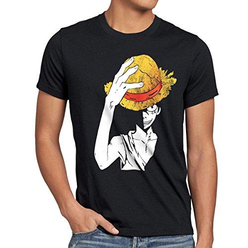 style3 Luffy Sombrero Camiseta para Hombre T-Shirt, Talla:S;Color:Negro
