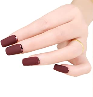 Brown Red Fake Nails Matte Metal Manicure French Long Design Full Cover False Nails with Metal Side Nail Tips 24pcs/set