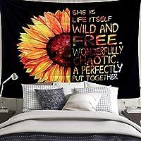 ひまわりタペストリー - ブラックと黄色い花タペストリーの寝室の壁の装飾 A- 150x150cm