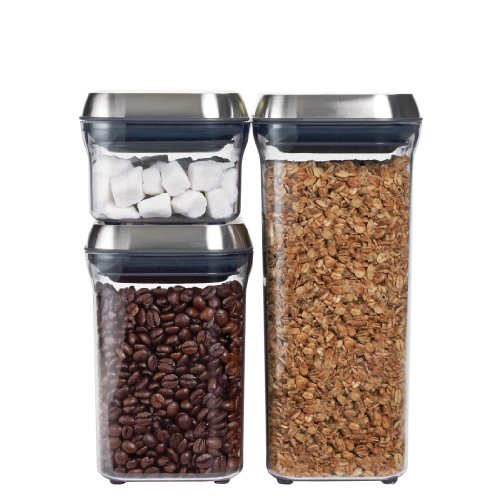 OXO SteeL 3-Piece Airtight Food Storage POP Container Set,Silver