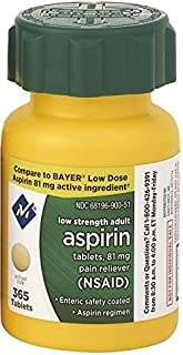 Member's Mark Low Strength Adults Enteric Safety Coated Aspirin Regimen Tablets 81mg Pain Reliever NSAID (1 bottle (365 tablets))