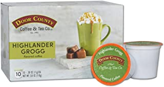 Door County Coffee, Single Serve Cups for Keurig Brewers, Highlander Grogg, Irish Creme and Caramel Flavored Coffee, Medium Roast, Ground Coffee, Best-Seller, 10 Count