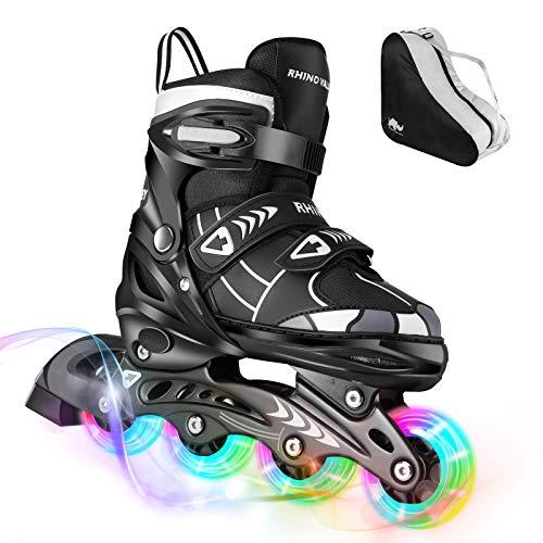 Rhino Valley Kinder Inline Skate, Verstellbar Inliner Rollschuhe mit 8 Leucht Räder Dreifach Schutz Leicht Skates Rollschuhe Einstellbar Größe Rollerskates für Anfänger Mädchen Jungen, M - Schwarz