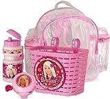 Frames - Conjunto de mochila + cesta, bidón + timbre Barbie