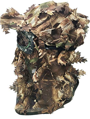 SHAWINGO Camouflage Leafy Hat 3D Full Face Mask Headwear Turkey Camo Hunter Hunting Accessories (Reed Green)