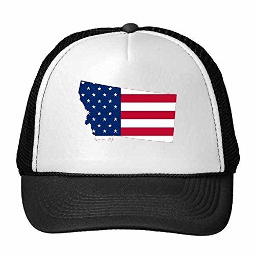 DIYthinker Les Etats-Unis d'Amérique États-Unis Montana Plan Drapeau américain Drapeau Forme de Camionneur Chapeau de Maille de Nylon Chapeau réglable Casquette Adulte