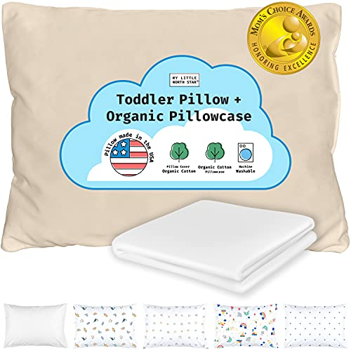 Toddler Pillow with Pillowcase - Toddler Pillows for Sleeping, Made in USA - Organic Shell and Pillowcase - Travel Pillow for Kids - Baby Pillow - 13x18 Washable - Daycare, Nap Mat, Crib - White