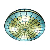 KWOKING Lighting Vintage Hand-Made Tiffany Ceiling Light Colorful and Creative Flush Mount Ceiling Ligh Special Decoration for Bedroom, Living Room, Hotel, Kitchen Blue 19.7inch