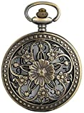 Elegance Flowers Bronze Hollow Hunter Pocket Watch Movimento al Quarzo Vintage Exquisite Lady Jewelry Pendente Orologio Regali Decorate Gift for Father