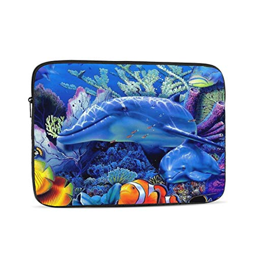 Laptop Case,Laptop Sleeve Bag Compatible with 10-17 inch MacBook Pro,MacBook Air,Notebook Computer,Polyester Vertical Protective Case Cover,Ocean Underwater World Dolphin 13 inch