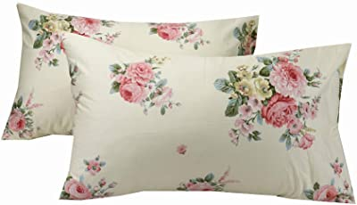 YIH 100% Cotton 600 Thread Count Pillow Case Set of 2, Standard Size Floral Pillow Covers for Sleeping, Breathable Easy to Wash