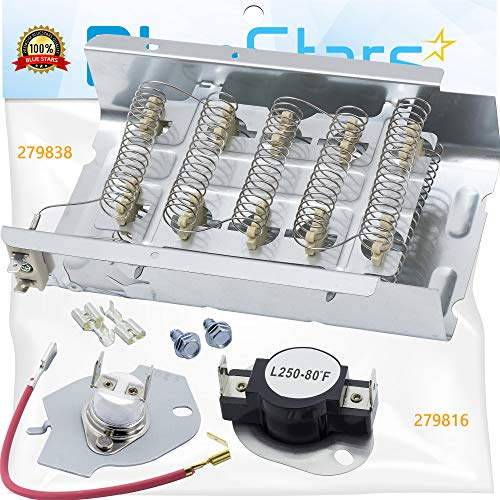 279838 & 279816 Dryer Heating Element With Dryer Thermal Cut-Off Kit by Blue Stars - Exact Fit for Whirlpool & Kenmore Dryers - Replaces 279837 279838VP AP3094254 3399848 AP3094244