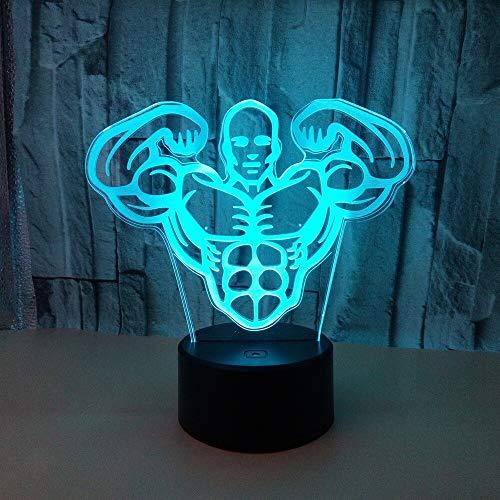 Nur 1 Stück New Body Building Herren 3D Nachtlicht 7 Farben Touch Fernbedienung Schreibtischlampe Muskel Herren 3D Tischlampe