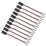 Yctze 10 unids/set conector de bombilla macho, soporte de enchufe de conector de bombilla de luz macho suave 12V W5 WT10 para bicicletas de coche (negro + rojo)
