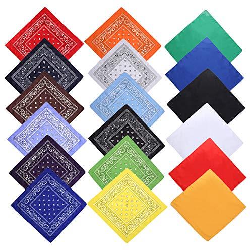 Counius 18pcs Multicolor Bandanas Hip hop Movimiento Bufanda Cuadrada Prueba Sudor Pañuelos Clásico Unisexo Impresión Pañuelos Pulsera Para Hijos Adultos Accesorios Moda(55 x 55cm)