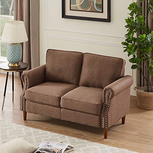 2P Seater Sofa Couch, Rockjame Sofa with Solid Wood and Durable Modern Linen Fabric for Small Spaces &Cushions and Armrests, Living Room Furniture (Brown)