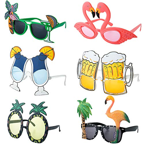 Czemo 6 Paar Party Sonnenbrillen Hawaiian Tropical Brillen Flamingo Ananas Sonnenbrille Lustige Kostüm Sonnenbrille für Sommer Kostüm Party
