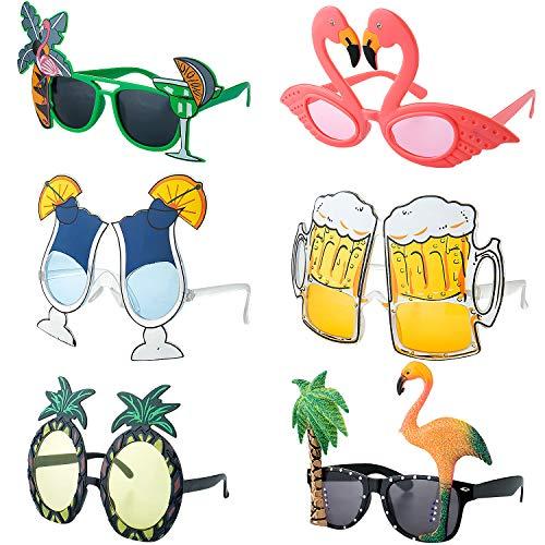 Czemo 6 Pares Gafas de Sol de Fiesta Hawaianas Tropicales Gafas en Forma de Piña Flamenco Gafas Decorativas para Niños y Adultos