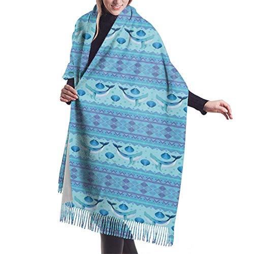 YANAIX Damen Herbst Winter Winter Schal, Ozean inspiriert Muster mit geometrischen Grenzen Fisch und Jakobsmuscheln, Schal Warm Soft Chunky Large Blanket Wrap Schal Schals