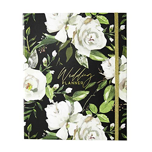 Modern Wedding Planner Book and Organizer for Brides with Gift Box   Engagement Gift for Couples   Hardcover Bridal Planning Journal Notebook   Black & Flowers
