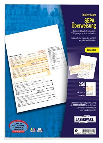 Laserware L0257 SEPA-Überweisung A4, 250 Blatt, beleglesefähig