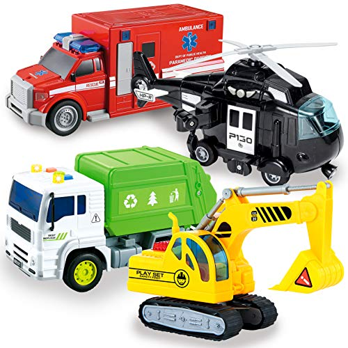 JOYIN 4 PC 7' Long Friction Powered City Play Vehicle Toy Set Including Construction Exvactor, Police Helicopter, Garbage Truck, Ambulance, Vehicle Toy with Lights and Sound Siren