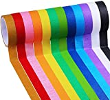 Supla 12 Colored Decorative Masking Tapes Kids Craft Set Artist Tape Adhesive Chart Tapes Painters Tapes Label Tapes Marking Tapes 1' X 42' Long per roll for Kids Crafting School Office Projects