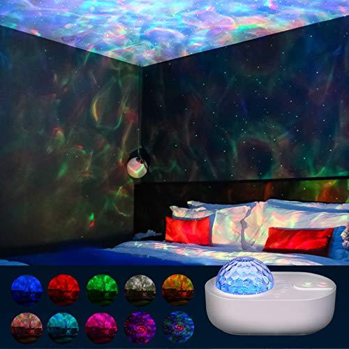 Dlovey Night Light Star Projector Ocean Wave Sky Galaxy Lámpara con Altavoz de música Bluetooth y Control Remoto Lámpara de Ambiente de Color