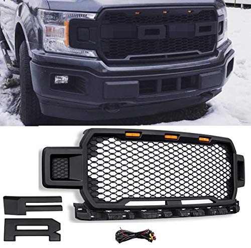 Modifying Front Grille ABS Mesh Grill Fit for 2018 2019 2020 F-150 Ford F150 with Amber LED Lights (Matte Black) - Using Cardboard Behind the Grill to Hold the Letters