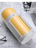 Jusemao Termo al vacío de gran capacidad, portátil, con asa plegable, 1000 ml, color amarillo