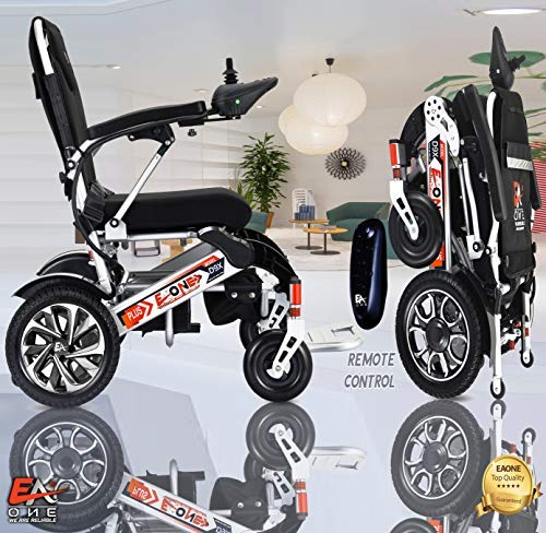 Best Rated Exclusive Folding Motorized Electric Power Wheelchair Scooter, Airplane Travel Safe, Portable Heavy-Duty Power Electric Wheelchair (20 Inch Seat). (Silver)