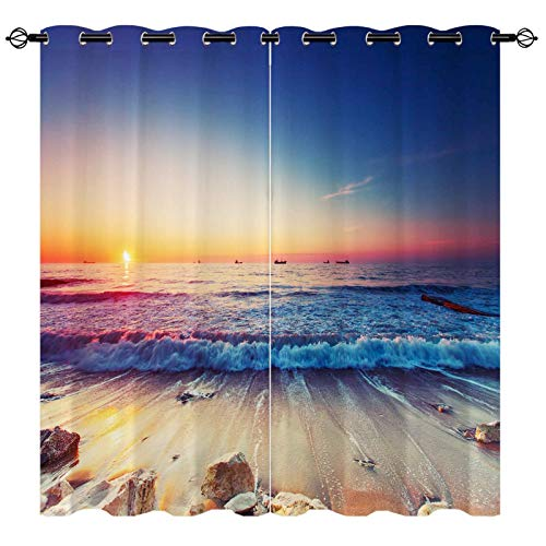 EiiChuang Beach Curtains, Sea Beach Stones Ocean Waves at Dusk Print Pattern Semi Blackout Curtain Home Decor Grommet Window Drapes for Bedroom Living Room Kitchen 2 Panel 27.5 x 39 Inch
