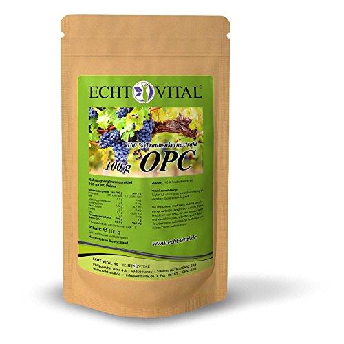 ECHT VITAL OPC Traubenkernextrakt Pulver 100 g | 100 {60cbd03e72aaa660b5cd2bc82a60f2d22290a9294f115bbb70cc915013be51fa} Premium OPC Pulver aus französischen Traubenkernen | Hochdosiert mit garantiertem OPC Mindestgehalt (HPLC) | Reines OPC Extrakt, vegan | Hergestellt in Deutschland