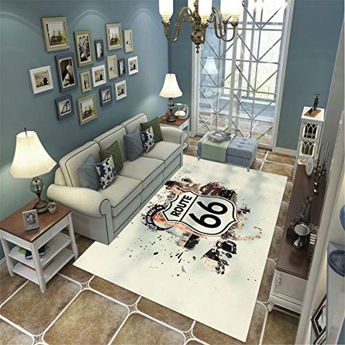 LGXINGLIyidian Casa Alfombra Signo Creativo De La Ruta 66 Alfombra Suave Antideslizante De Decoración del Hogar De Impresión 3D 120X180Cm