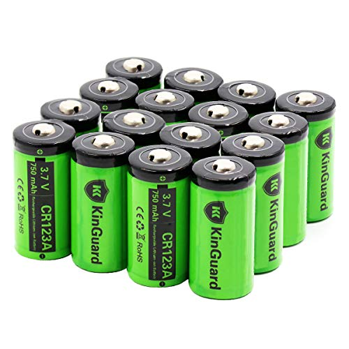 CR123A Lithium Batteries 16 Pack 3.7V 750mAh Batteries [CAN BE RECHARGED] for Wireless Security Cameras VMC3030 VMK3200 VMS3330 3430 3530, Flashlights, Streamlights