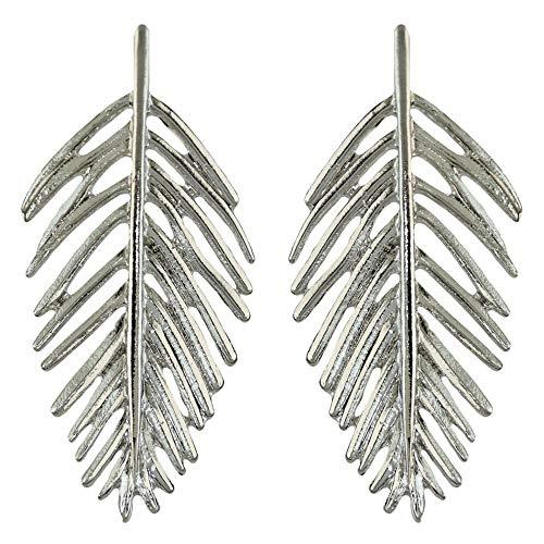 Pendientes de forma de hoja de metal salvaje de temperamento de estilo europeo y americano diseño de moda nuevos pendientes creativos-plata