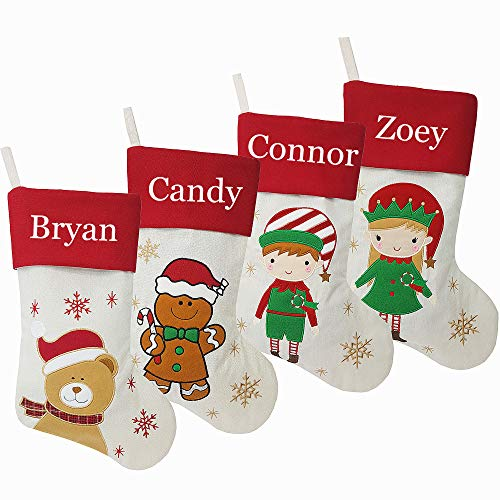 DearSun Set of 4, 18' Personalized Customization Christmas Stockings with Embroidery Technology,Teddybear,Gingerbread Man,Elf Boy,Elf Girl for Family Decor (4 Design-7) Free Update to Expedited