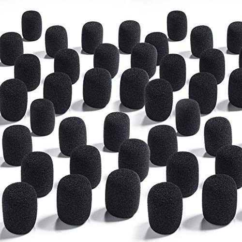50 Pieces Foam Microphone Windscreen Mic Covers Foam Protection for Small Lapel and Headset Microphones, Black