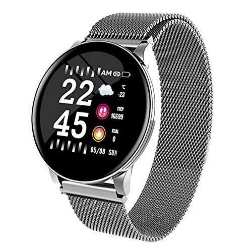 YWS Mujeres Hombres Ritmo Cardíaco Presión Arterial W8 Reloj Inteligente Reloj Redondo Redondo Impermeable Mujer Deportes Salud Smart Pulsera para Android iOS,F