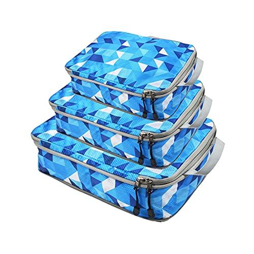 Ulapithi Set di 3 contenitori da viaggio con borsa a compressione con doppia cerniera lampo, organizer da viaggio, S, M, L