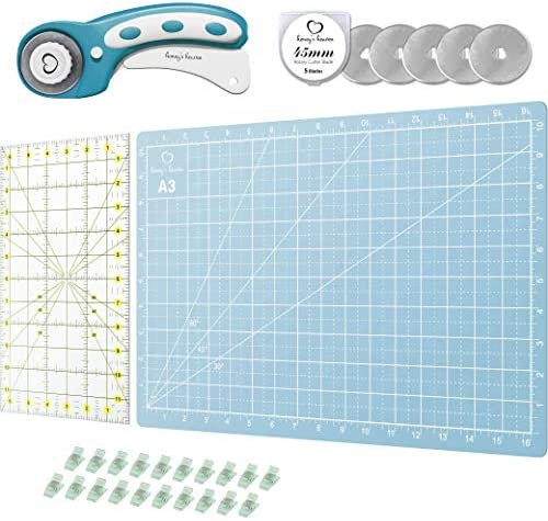 Rotary Cutter Set Turquoise Quilting Kit incl 45mm Fabric Cutter 5 Replacement Blades A3 Cutting product image