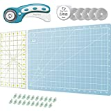 Rotary Cutter Set Turquoise - Quilting Kit incl. 45mm Rotary Cutter, 5 Replacement Rolling Blades, Cutting...
