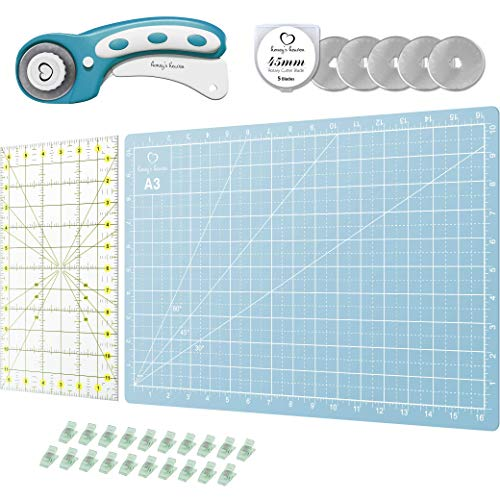 Rotary Cutter Set turquoise - Quilting Kit incl. 45mm Fabric Cutter, 5 Replacement Blades, A3 Cutting Mat, Acrylic Ruler and Craft Clips - Ideal for Crafting, Sewing, Patchworking, Crochet & Knitting