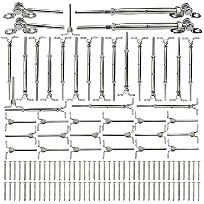"""Muzata 20 Pairs Stainless Steel Cable Railing Kit Systems Fit 1/8"""" Wire Rope,Angle 180° Adjustable Swage Toggle Turnbuckle Tensioner and End fititing,T316 Marine Grade,CK07,Series CA1 CD1 CS1"""