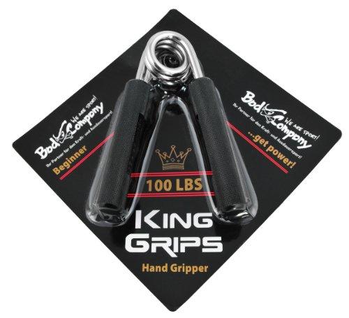Bad Company Fingerhanteln I Hand Gripper in schwarz mit Aluminium Griffen I Handmuskeltrainer in verschiedenen Widerstandsstärken I 100 LBS