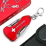 TopSpirit Schlüsselanhänger Multitool 5 in 1 Switzerland - Multi Tool mit Messer, Flaschenöffner, 2X Schraubenzieher und LED-Licht & Nylon-Etui