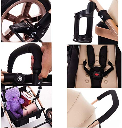 LAMTON High-View Stroller, Multi-Position Adjustable Shock-Absorbing Folding Four Season Jogging Stroller for Infants from 0 to 36 Months. Send 7 Gifts LAMTON Lycra skin-friendly fabric. Thick and non-pleated, soft and silky, warm and breathable, the best choice for baby soft skin. The frame connection is supported by a spring bracket, which effectively alleviates the shaking of the body, makes the cart more stable, and the baby sleeps more securely. Big fill cradle. High view. Reversible stroller seat. damping. Bump bumper. Large storage basket. Front wheel rotation with suspension spring. Fully adjustable 5-point seat belt Made of high-quality carbon steel pipe: streamlined curve, no rust, anti-oxidation, impact resistance, high strength, can adjust the most comfortable push position; reversible baby stroller seat allows the baby to easily face the parents or face the world. 4
